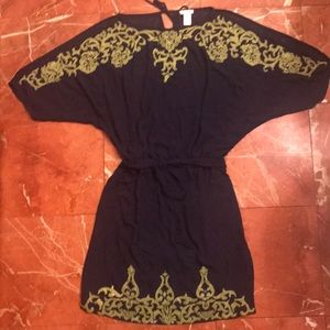 Cache Sequin trim soft woven dress x over back